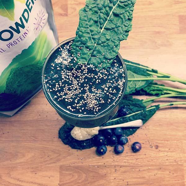 Kale, Spirulina, Blueberry smoothie